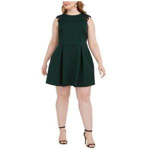 Speechless Plus Lace-Contrast Fit & Flare Dress 2X